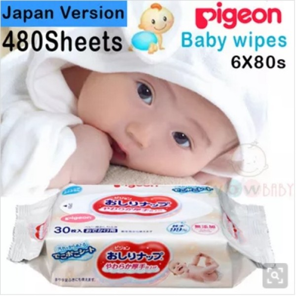 [Made in Japan] Pigeon Baby Wipes. 6X80S(480sheets). Japan Version